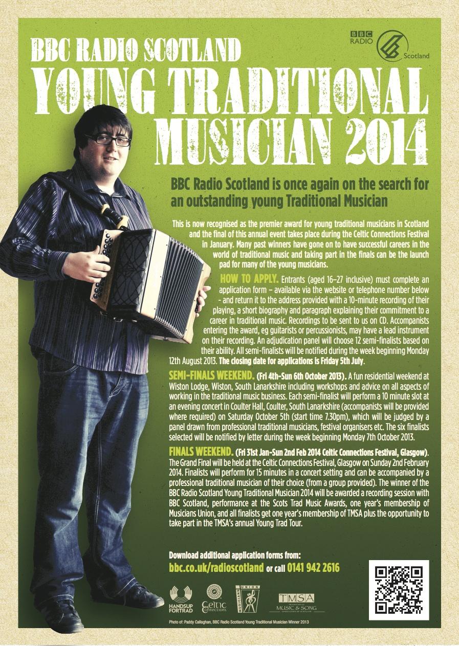 BBC Radio Scotland Young Traditional Musician Award 2014 leaflet